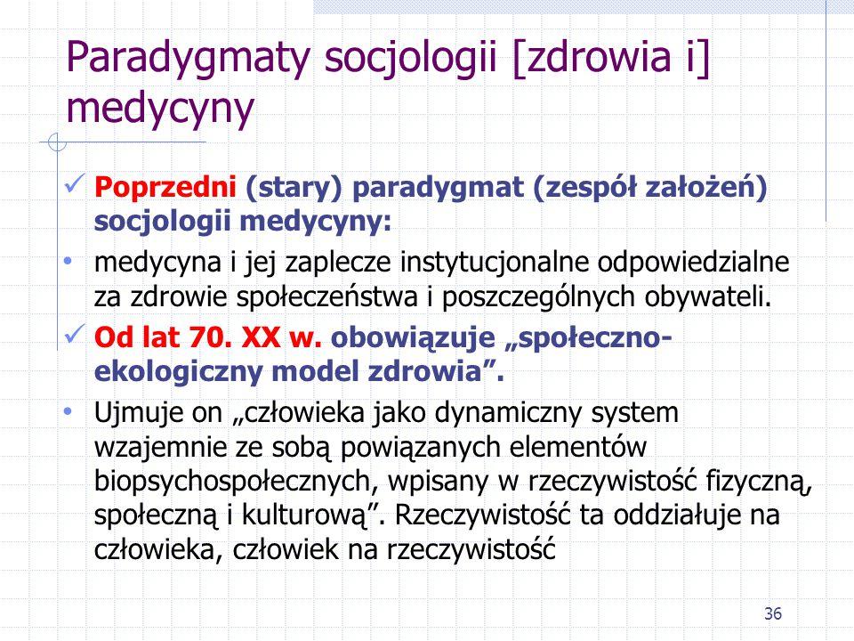Paradygmaty socjologii [zdrowia i] medycyny